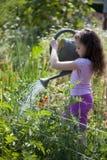 Menina que molha o jardim Fotos de Stock Royalty Free