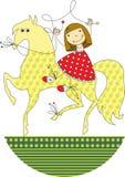 Menina que monta um cavalo ilustração stock