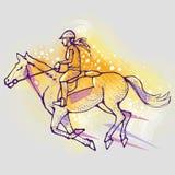 Menina que monta um cavalo em um fundo gráfico, imagem do vetor ilustração royalty free