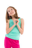 Menina que mostra as mãos dadas forma coração Foto de Stock Royalty Free