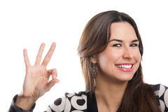 Menina que mostra está bem Imagem de Stock Royalty Free