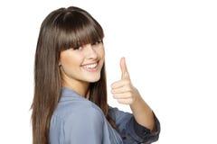 Menina que mostra o polegar acima do sinal foto de stock royalty free