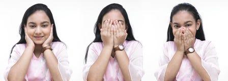 Menina que mostra símbolos das éticas Foto de Stock