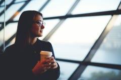 A menina que olha fora do escritório da janela e está guardando um café Imagem de Stock