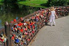 A menina que olha o casamento trava na cerca no jardim botânico nomeado Tsitsin em Moscou Fotos de Stock