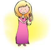 Menina que penteia seu cabelo Imagens de Stock Royalty Free