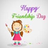 Menina que pinta a mensagem feliz do dia da amizade Fotografia de Stock Royalty Free