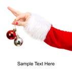 Menina que prende dois baubles do Natal Imagens de Stock