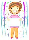 Menina que prende a placa em branco ilustração do vetor