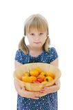 Menina que prende uma bacia com tomates Imagem de Stock Royalty Free