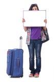 Menina que prepara-se para viajar Fotografia de Stock