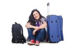 Menina que prepara-se para viajar Fotografia de Stock Royalty Free