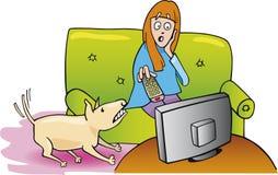 Menina que presta atenção à tevê e ao cão Foto de Stock