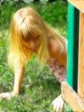 Menina que procurara pelo lagarto fotografia de stock royalty free