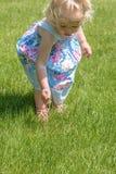 Menina que puxa dentes-de-leão na grama no verão imagens de stock royalty free