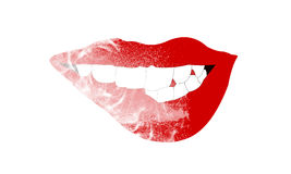 A menina que que morde seus próprios bordos 'sexy' vermelhos com seus dentes Fotos de Stock Royalty Free