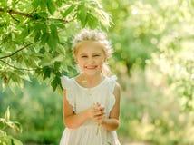 Menina que recolhe flores no parque fotos de stock