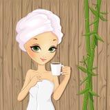 Menina que relaxa com o copo do chá Ilustração do Vetor