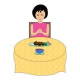 Menina que reza durante o almoço ilustração royalty free