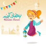 A menina que salta com a lanterna que comemora a ramadã Foto de Stock Royalty Free