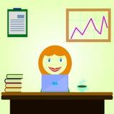 Menina que senta-se atrás de uma mesa ilustração stock