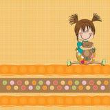 menina que senta-se com seu urso de peluche Imagens de Stock