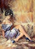 Menina que senta-se em um assoalho Imagem de Stock Royalty Free