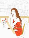 Menina que senta-se em um café Ilustração Stock
