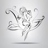 Menina que senta-se em uma flor. Ilustração do vetor Imagens de Stock Royalty Free