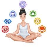 Menina que senta-se em uma posição da ioga Foto de Stock