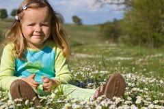 Menina que senta-se entre wildflowers no campo imagem de stock royalty free