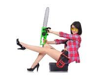 Menina que senta-se na caixa Imagem de Stock Royalty Free