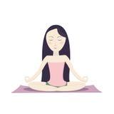 Menina que senta-se na pose e em meditar dos lótus Ilustração Royalty Free