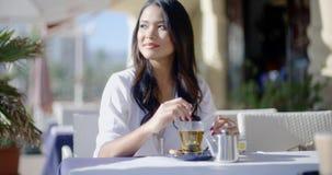 Menina que senta-se no café com o copo do chá vídeos de arquivo
