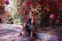 Menina que senta-se no freio Imagem de Stock Royalty Free