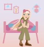 Menina que senta-se sozinho em seu quarto Fotos de Stock Royalty Free