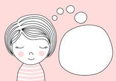 Menina que sonha o discurso de pensamento da bolha Imagem de Stock