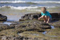 Menina que Squatting em rochas no mar Imagens de Stock Royalty Free