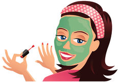 Menina que tem a máscara protetora Imagens de Stock Royalty Free