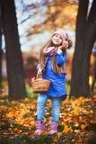Menina que tem um piquenique no parque do outono fotografia de stock royalty free
