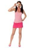 Menina que toma a foto Imagem de Stock