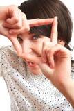 Menina que toma uma foto virtual Foto de Stock