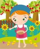 Menina que trabalha na exploração agrícola Imagens de Stock Royalty Free