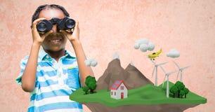 Menina que usa binóculos com o baixo penhasco poli na parte dianteira Fotografia de Stock