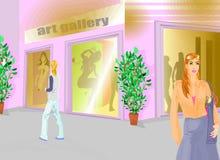 Menina que vai na exposição de arte ilustração do vetor