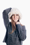 Menina que veste um chapéu grosso Imagem de Stock Royalty Free