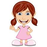 Menina que veste uns desenhos animados cor-de-rosa do vestido ilustração stock