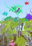 Menina que voa um dragão sobre uma floresta da fantasia Fotos de Stock