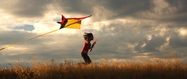 Menina que voa um papagaio. Imagens de Stock