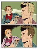 A menina quer falar com um homem ilustração stock